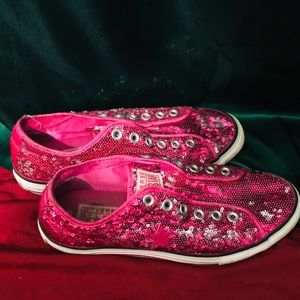 Sequined hot pink converse